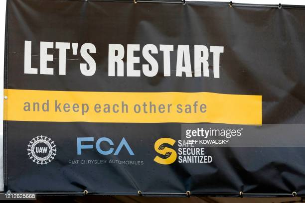 Tents and signage have been constructed at the employee entrance of FCA Chrysler Warren Truck Assembly as they prepare to restart production after...