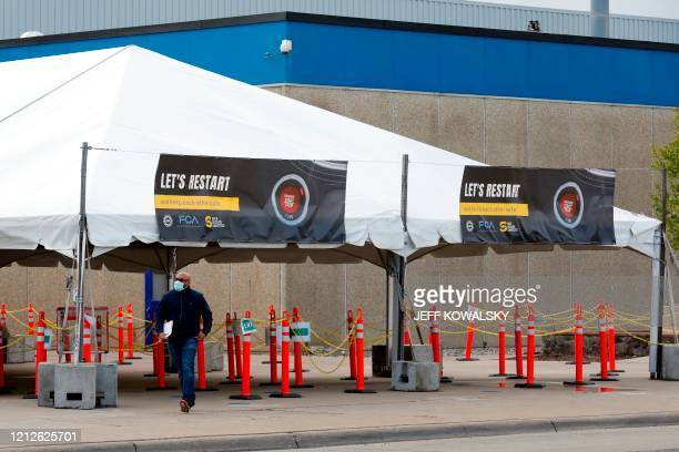 Tents and signage have been constructed at the employee entrance of FCA Chrysler Warren Truck Assembly as they prepare to restart production, after...