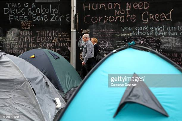 Tents are erected at Martin Place on August 10 2017 in Sydney Australia The NSW Government passed a new bill on Wednesday giving police the power to...