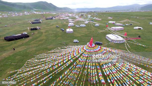 Tents are erected for a tent festival on a grassland 4500 meters above sea level on August 1 2017 in Shiqu County Sichuan Province of China