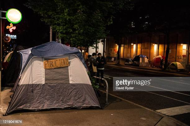Tents are seen outside of the Seattle Police Departments East Precinct on June 9, 2020 in Seattle, Washington. Protests have continued in many parts...