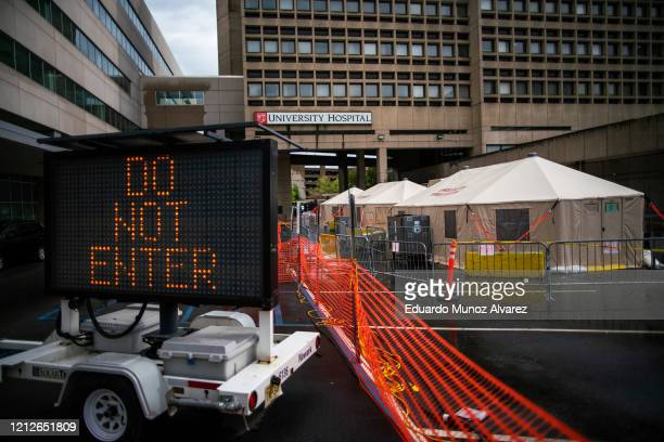 Tents are set up outside of the University hospital on May 11, 2020 in Newark, New Jersey. NJ state is opening two new plasma donation sites to help...