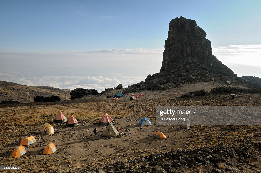 Tents at Lava Tower Camp above the clouds, Kilimanjaro National Park : Stock Photo