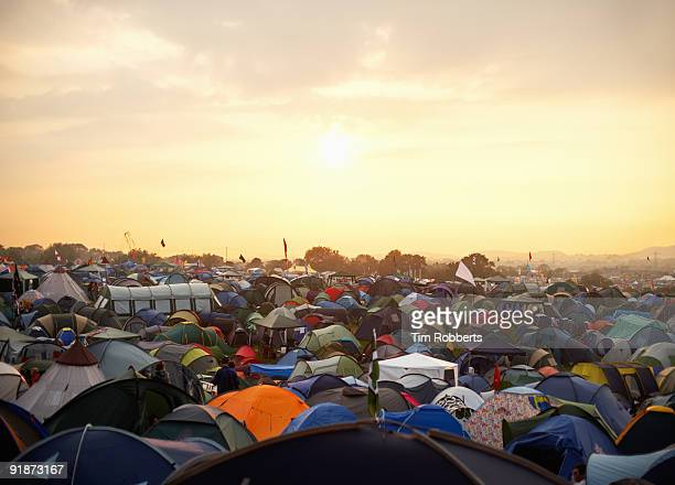 Tents at sunset at Glastonbury music festival