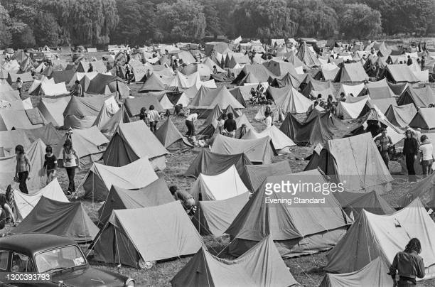 Tents at the 12th National Jazz, Blues and Rock Festival in Reading, UK, UK, 12th August 1972.