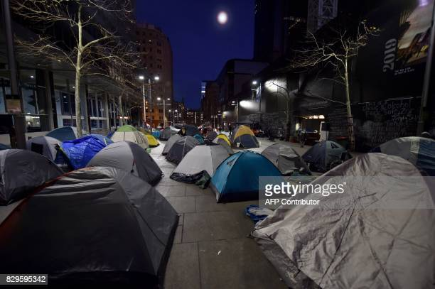 Tents belonging to homeless people are seen at dawn in Martin Place which has become known as 'Tent City' in the central business district of Sydney...
