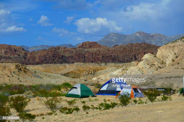 tents camping in the desert - big bend national park stock pictures, royalty-free photos & images