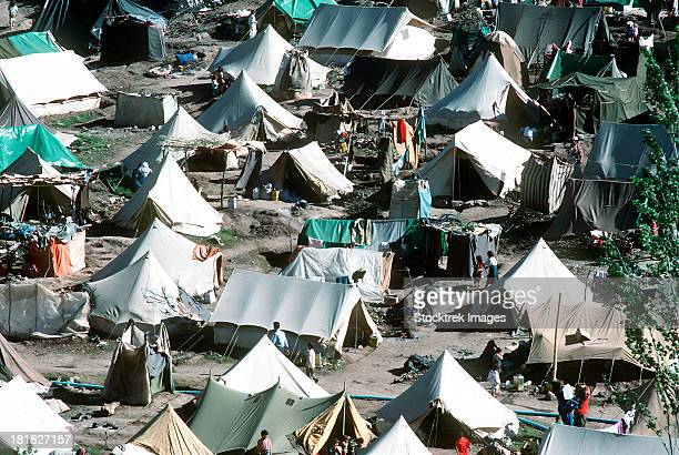 Tents cover the mountainside in the Kurdish refugee camp of Yekmel.