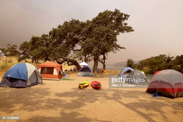 Tents food and personal belongs remain abandoned after campers were evacuated from the fastmoving Whittier Fire in the Los Padres National Forest...