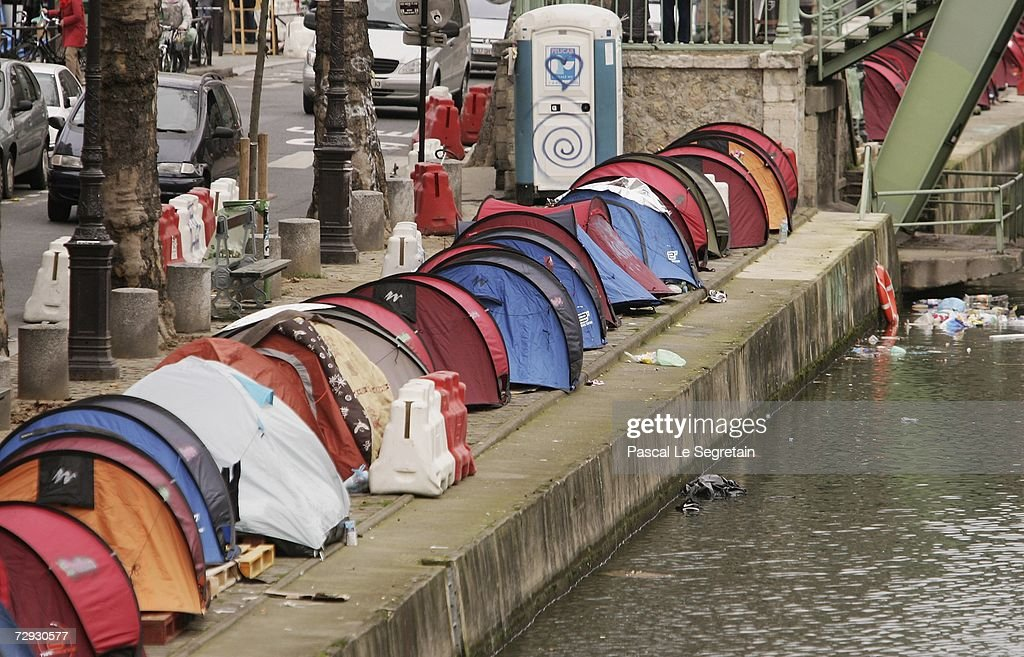 Tents for Homeless People are seen along the Canal Saint Martin on January 5 2007 & Tents For Homeless People Line The Canal Saint Martin In Paris ...