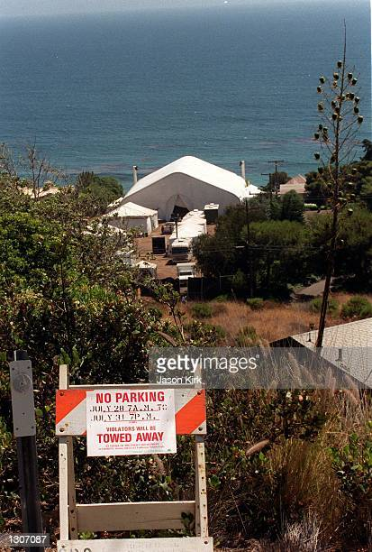 Tents for the wedding of actors Jennifer Aniston and Brad Pitt stand by the Pacific Ocean July 27 2000 in Malibu CA It was reported that they will be...