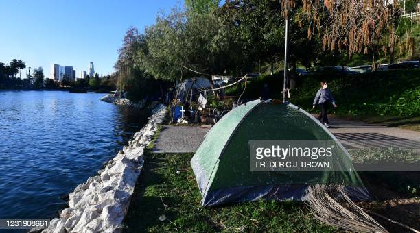 Tents housing the homeless at an encampment in Echo Lake Park where social activists, including a coalition of homeless-serving organizations,...