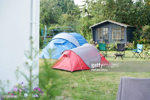 tents in a back garden - richard drury stock pictures, royalty-free photos & images