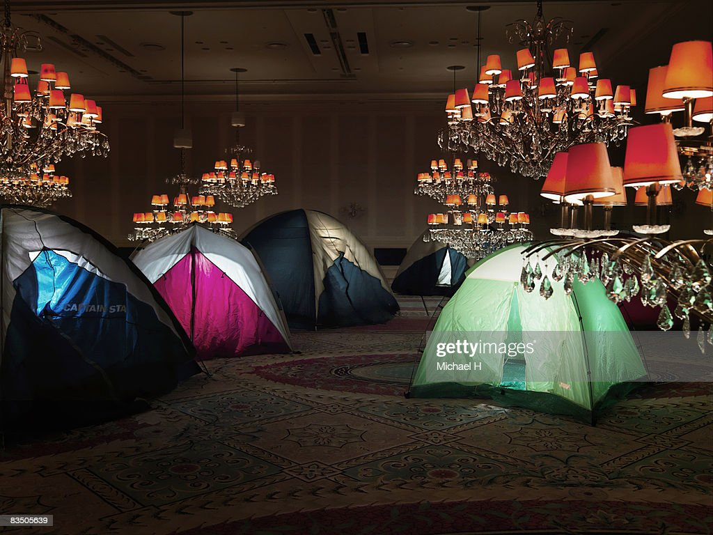 Tents in a ballroom : Stock Photo