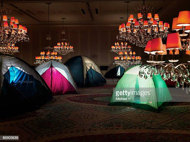 Tents in a ballroom