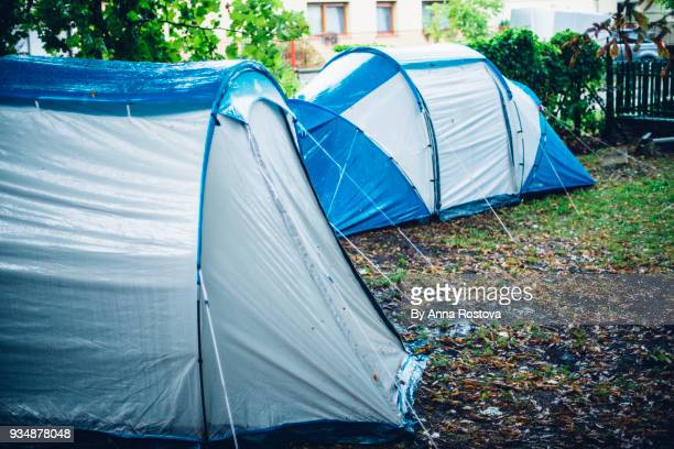 Tents in a camp in rainy weather