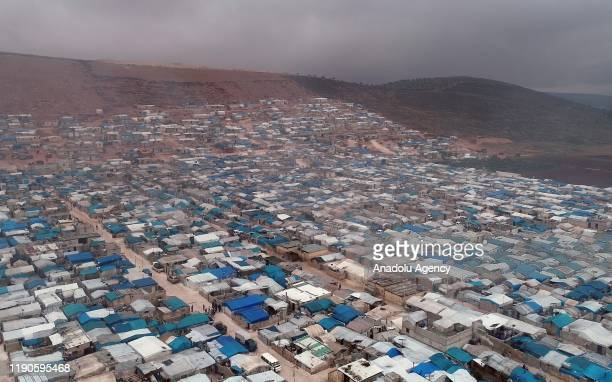 Tents in camp area are seen near al-Karame village, located across Reyhanli district of Turkey's Hatay, on December 26, 2019 in Idlib, Syria....