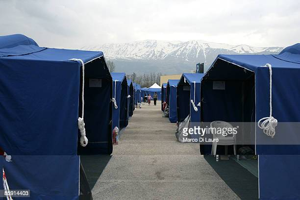Tents in the Monticchio camp stand at the base of the mountain on April 112009 in Monticchio next to Onna a village near L'Aquila Italy Easter...