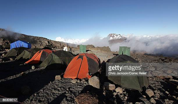 Tents lie on the ridge on the seventh day of The BT Red Nose Climb of Kilimanjaro on March 7 2009 in Arusha Tanzania Celebrities Ronan Keating Gary...