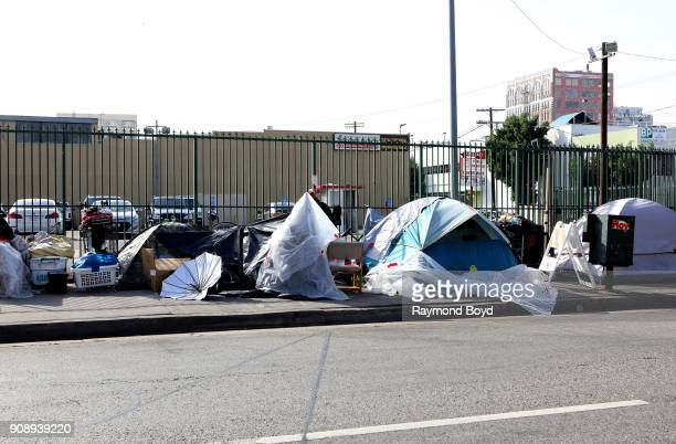 Tents of homeless people line a downtown sidewalk in Los Angeles California on January 15 2018