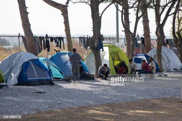 Tents of newcomers in Diavata Refugee Camp Greece on 2 November 2018 Diavata Refugee Camp is a converted former military camp with the name...