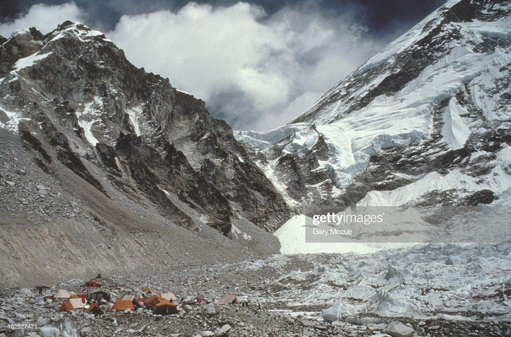 Tents on a snowy mountain,  Mount Everest base camp,  Khumbu Glacier,  Nepal : Stock Photo