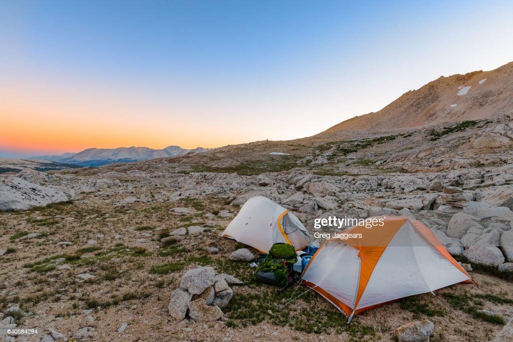 Tents on Rocky Terrain, California Sierra Nevada : Stock Photo