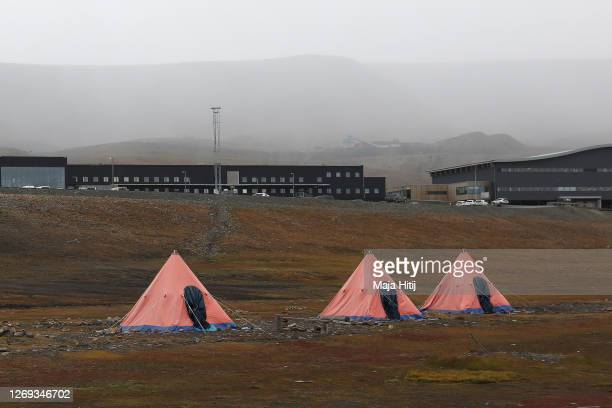 Tents stand at a campground near the airport where a man was killed by a polar bear on Svalbard archipelago on August 28 2020 at Longyearbyen Norway...