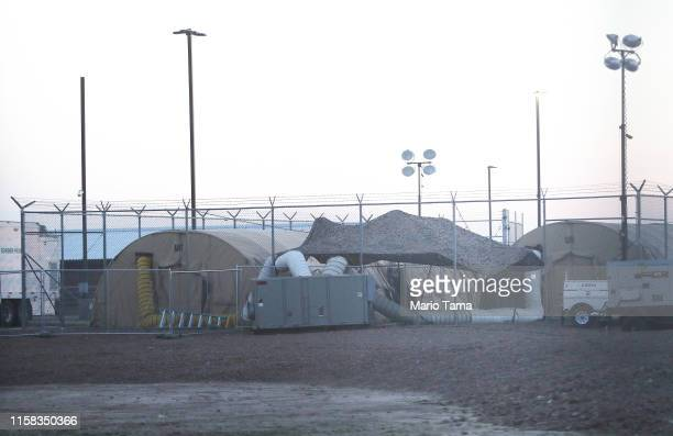 Tents stand at the U.S. Border Patrol station where lawyers reported that detained migrant children were held unbathed and hungry on June 25, 2019 in...