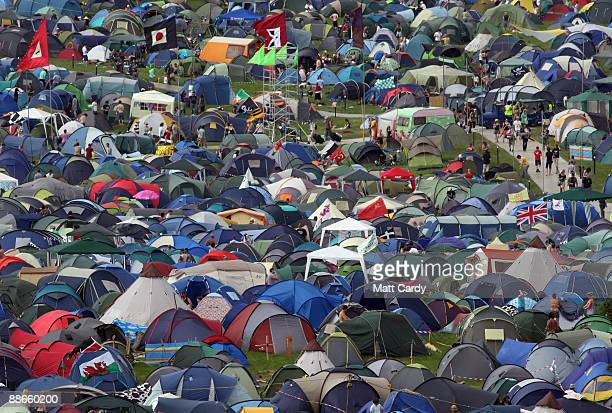 Tents start to fill the fields as music fans start to arrive at the Glastonbury Festival site at Worthy Farm, Pilton on June 24, 2009 near...