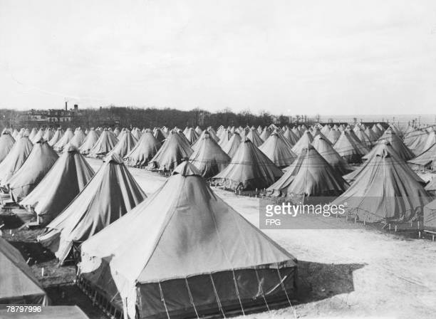 Tents to accommodate unemployed workers from Chicago and Milwaukee, who will be trained in forestry work as part of President Franklin D. Roosevelt's...