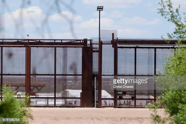 Tents to house unaccompanied migrant children are seen at the TornilloMarcelino Serna Port of Entry on June 18 2018 in Tornillo Texas The Trump...