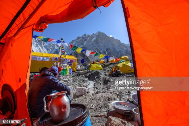 Tents village at Everest base Camp in Sagamatha National Park Nepal 2016