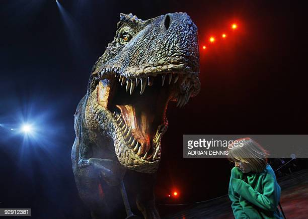 A tenyearold girl cowers as a lifesize Tyrannosaurus Rex roars in her face during a press launch of 'Walking with Dinosaurs' at the O2 Arena in...