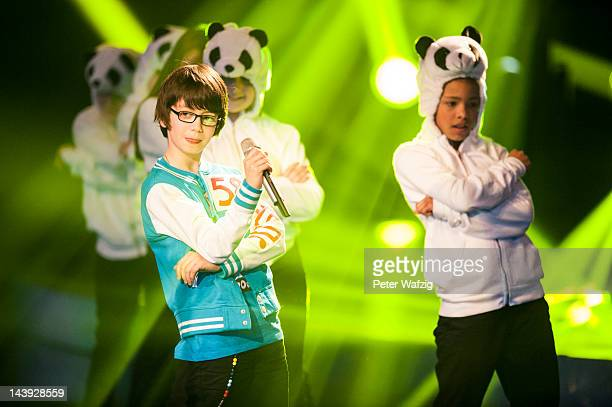 Tenyearold Samuel performs during DSDS Kids 1st Show at Coloneum on May 05 2012 in Cologne Germany