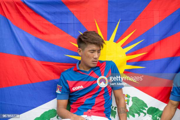 Tenzin Bhakdo during half time for Tibet London Turkish AllStars Vs Tibet during the Conifa Paddy Power World Football Cup Placement Match A on the...