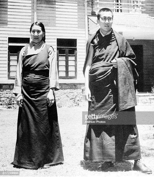 Tenzin Gyatso the 14th Dalai Lama and his mother shortly after the Tibetan Buddhist ruler fled his homeland for exile in northern India