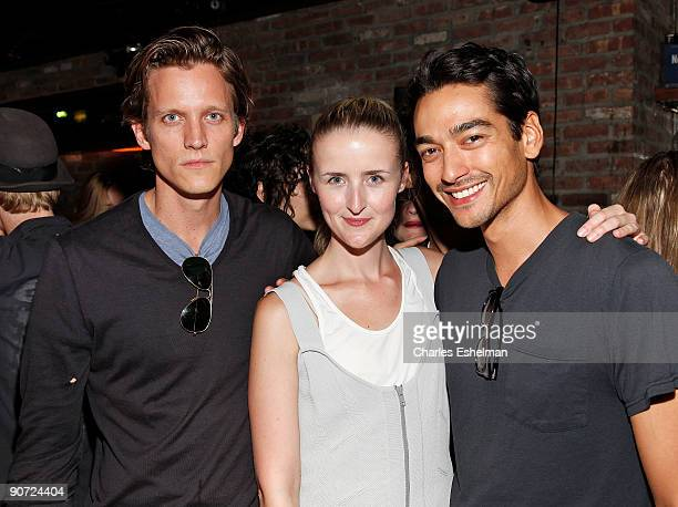 Tenzin Wild and Magnus Berger of The Last Magazine and designer Flora Gill attend the Ohne Titel cocktail party at The Eldridge on September 13 2009...