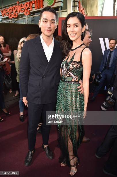 Tenzin Wild and Tao Okamoto attend the Los Angeles Season 2 premiere of the HBO Drama Series WESTWORLD at The Cinerama Dome on April 16 2018 in Los...