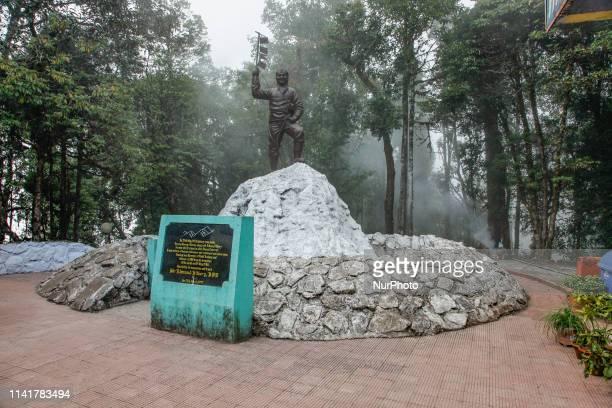 Tenzing Norgay memorial sculpture depicting the mountaineer on top of Everest at HMI the Himalayan Mountaineering Institute in Darjeeling West Bengal...