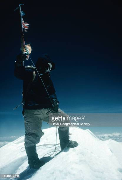 Tenzing Norgay on the Summit of Mount Everest Tenzing Norgay on the summit of Mount Everest at 1130am on 29th May 1953 Tenzing waves his iceaxe on...