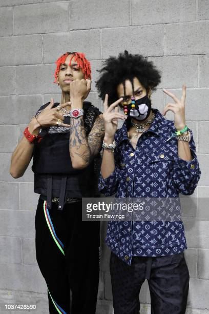 Teo and Ayo are seen backstage ahead of the Philipp Plein show during Milan Fashion Week Spring/Summer 2019 on September 21 2018 in Milan Italy