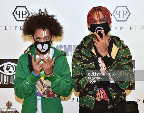Teo and Ayo attend Sip Shop Listen for The Crown EP at Philipp Plein on April 12 2017 in Atlanta Georgia