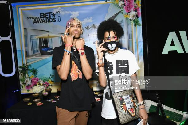 Teo and Ayo of of musical group Ayo and Teo attend the 2018 BET Awards Gift Lounge on June 22 2018 in Los Angeles California