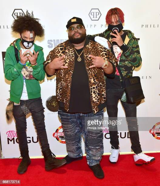 Teo Jazze Pha and Ayo attend Sip Shop Listen For The Crown EP at Philipp Plein on April 12 2017 in Atlanta Georgia