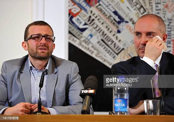 Teo Pulvirenti a victim allegedly abused by a priest speaks next to the president of the antipaedophilila association la caramella buona Roberto...