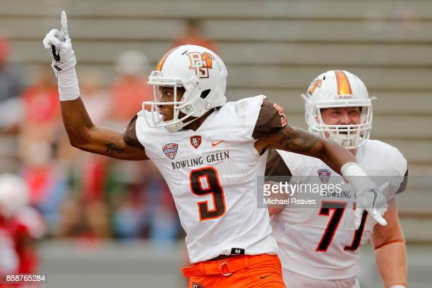 Teo Redding of the Bowling Green Falcons celebrates after a touchdown reception against the Miami Ohio Redhawks during the second half at Yager...