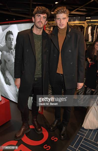Teo Van Den Broeke and Toby HuntingtonWhiteley attend the Hugo X Liam Payne Bodywear Campaign party at Flannels on December 4 2019 in London England