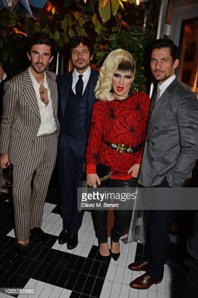 Teo Van Den Broeke Andres Velencoso Jodie Harsh and David Gandy attend the GQ 30th anniversary party at SUSHISAMBA Covent Garden on October 29 2018...