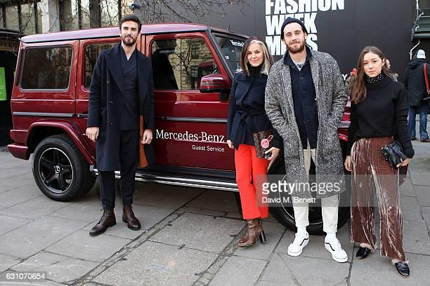 Teo van den Broeke Catherine Hayward Charlie Teasdale and Emie James Crook arrive in a MercedesBenz for London Fashion Week MenÕs on January 6 2017...